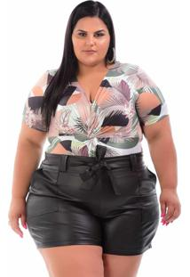 Short Cirrê Preto Plus Size
