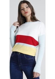Suéter Feminino Em Tricô Com Listras Decote Redondo Off White