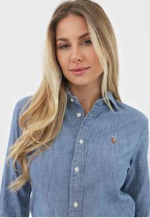 Camisa Jeans Polo Ralph Lauren Logo Azul