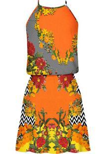 Vestido Com Alças Estampado Ikat Garden - Lez A Lez