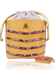 Bolsa Saco Campezzo Couro Amarelo E Snake Mondrian - Tricae