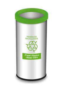 Lixeira Resíduos Recicláveis Com Aro E Adesivo Verde 40,5 Litros - Decorline Lixeiras Ø 30 X 60 Cm - Brinox