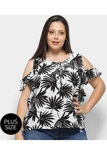 Blusa Heli Open Shoulder Folhagem Plus Size Feminina - Feminino-Preto