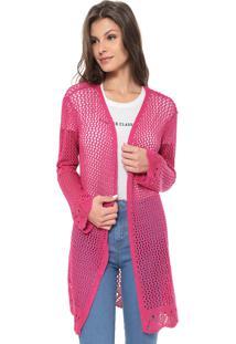Maxi Cardigan Enfim Tricot Color Pink