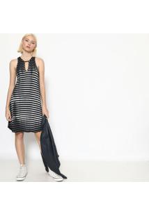 Vestido Listrado Com Recorte - Cinza & Pretocalvin Klein