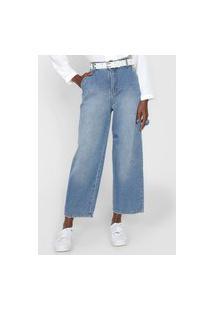 Calça Jeans Cantão Wide Leg Estonada Azul