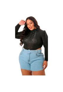 Short Jeans Plus Size Feminino Barra Desfiada Com Cinto Bermudinha Azul