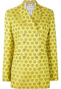 Etro Blazer De Seda Com Abotoamento Duplo - Amarelo