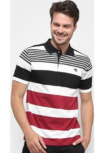 Camisa Polo Gajang Euro Liguria Masculina - Masculino-Branco+Preto