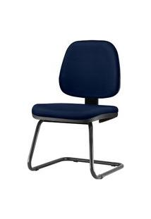 Cadeira Job Assento Crepe Azul Escuro Base Fixa Preta - 54566 Azul