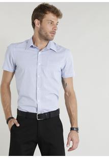 Camisa Masculina Comfort Xadrez Manga Curta Azul Claro