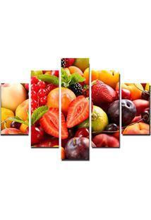 Quadro Painel Mosaico Decorativo 5 Partes Frutas