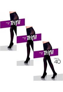 Kit Com 3 Meias-Calças Trifil Fio Feminino - Feminino-Preto