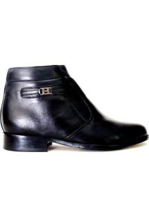 Botina Social Masculina Em Couro Riber Shoes Com Ziper - Masculino-Preto