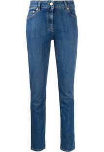 Moschino Teddy Bear Embroidered Skinny Jeans - Azul