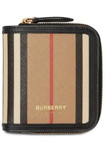 Burberry Carteira Com Zíper E Listras Icônicas - Neutro