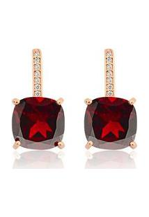 Brinco Ouro Rosé Diamante E Granada