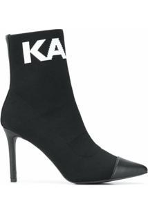 Karl Lagerfeld Ankle Boot Pandora De Tricô - Preto