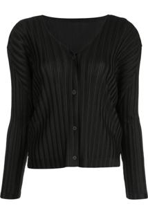 Pleats Please Issey Miyake Ribbed Buttoned Cardigan - Preto