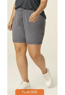 Shorts Cinza Escuro Running Em Moletinho Plus