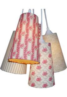 Luminária Cacho Romance Crie Casa Bege E Vermelho