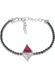 Pulseira Riviera Triângulos The Ring Boutique Pedra Cristal Vermelho Rubi Ródio Branco