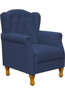 Poltrona Decorativa Para Sala De Estar Lyam Decor Yara Suede Azul Marinho