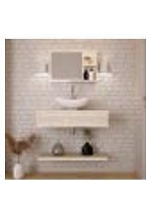 Conjunto Para Banheiro Bancada Com Cuba L42 Abaulada, Prateleira E Espelheira City 806 Snow