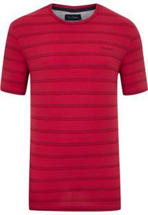 Camiseta Malha Listrada Com Elastano Vermelha New