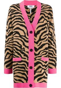Msgm Cardigan Oversized Jacquard De Zebra - Marrom