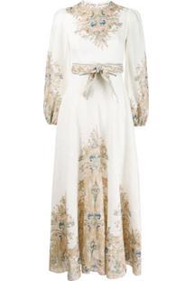 Zimmermann Vestido Freja Com Estampa - Branco