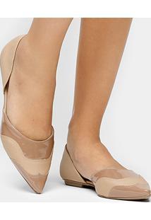 Sapatilha Shoestock Semi Aberta Bico Fino Safiano - Feminino-Nude