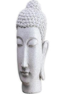 Escultura Em Resina Buda 33X16Cm Cinza