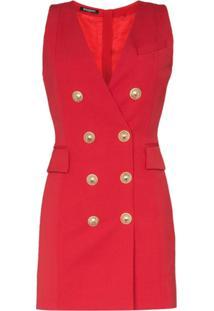 Balmain Double-Breasted Sleeveless Blazer Dress - Vermelho