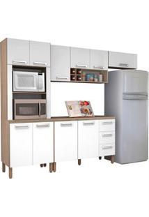 Cozinha Compacta Ametista Com Balcão 10 Portas Composição 8 Nogal/Bran