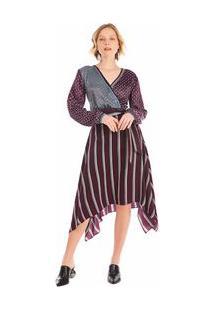 Vestido Midi Decote Transpassado Basico Roxo P