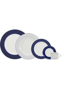 Aparelho De Jantar 30 Peças Maitê - Schmidt - Branco / Azul