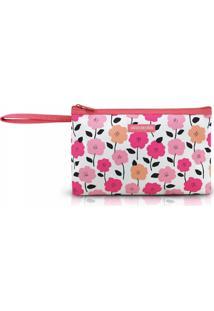 Necessaire Com Alça Tam. G Estampa Flores Jacki Design Pink Lover Salmão