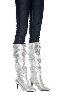Bota Slouch Dafiti Shoes Metalizada Prata