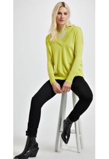 Blusa De Tricot Decote V Longo Amarelo Neon