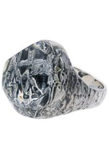 Lyly Erlandsson Silver And Clear Resin Salvage Ring - Metálico