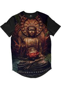 Camiseta Bsc Longline Sidarta Gautama Sublimada Preta Dourada