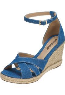 Sandália Feminina Domidona Anabela Nobuck Sola Corda Jeans Azul