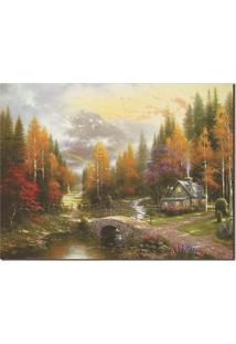 Quadro Decorativo Casa De Outono - Multicolorido - Dafiti