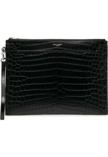 Saint Laurent Clutch Com Efeito De Pele De Crocodilo - Preto