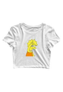 Blusa Blusinha Feminina Cropped Tshirt Camiseta Lisa L Branco