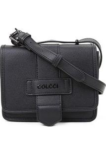 Bolsa Colcci Mini Bag Quadrada Bicolor Feminina - Feminino-Preto