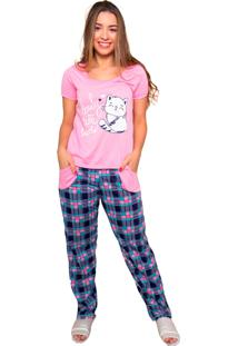 Pijama Bella Fiore Modas Longo Alice Rosa
