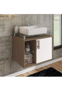 Gabinete De Banheiro 1 Cuba Sobreposta Em Base De Vidro Porto Mgm Móveis Amêndoa/Branco