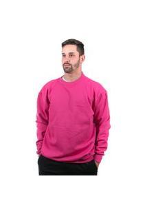 Blusa Moletom Bascine Gola Careca Liso Pink